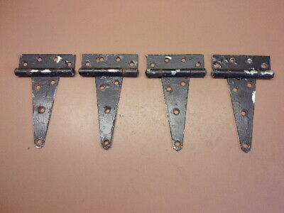 "Used Lot of Four (4) 6"" Tee T Hinges 4 1/4"" x 1 3/4"" Backplate Old Black Paint"