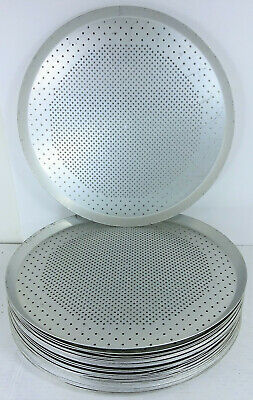 """Lot of 10 Round Perforated Air Bake Aluminum Commercial Metal Pizza Pans 15"""""""