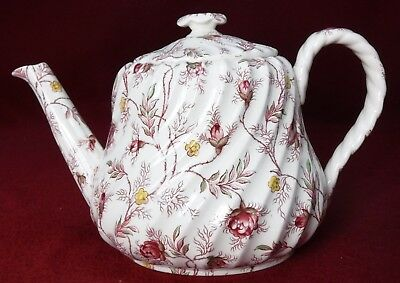 SPODE china ROSEBUD CHINTZ 2.7491 pink vine Small TEAPOT with LID - 26 oz.