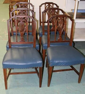 Dining Chairs, Hepplewhite, Sheraton Style, Leather Seats. Set of 6, 1900-1915
