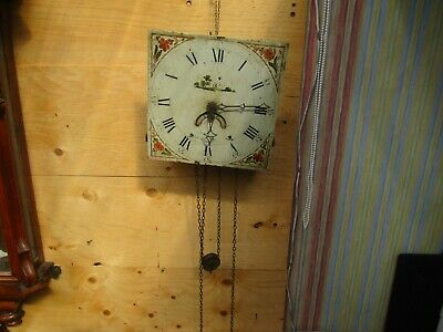 Hand Painted Grandfather Clock Face And Movement. Spares Or Restoration