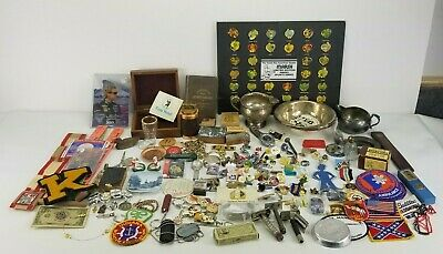 Junk Drawer Lot Watch Patches Pins Silver Stamp Blocks Random