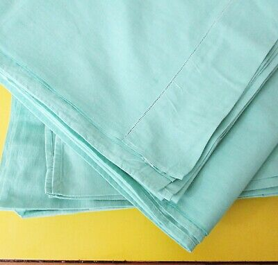 vintage 1940s pair of Dorcas green cotton bed sheets