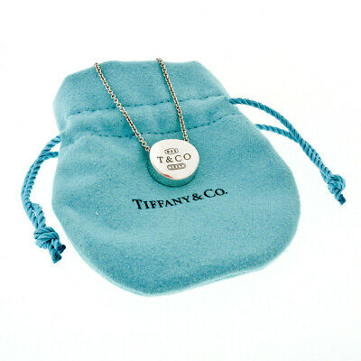 Tiffany & Co. 1837 Sterling Silver Concave Circle Slide Charm Pendant Necklace