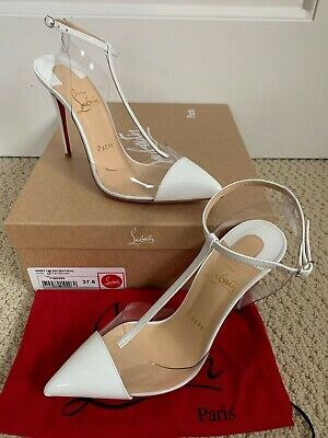 b6c5c67df0a NIB CHRISTIAN LOUBOUTIN Nosy White Patent Cap Toe Clear Pointed Pumps 37.5  7.5