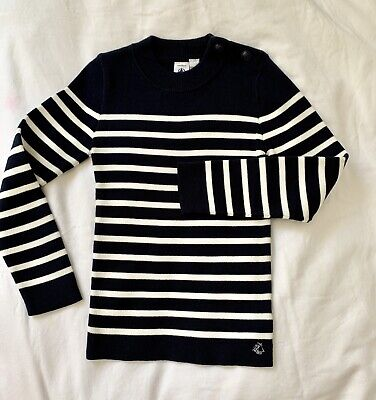 Petit Bateau Boys Sweatshirt Pullover Striped Dark Blue Navy/white 6ans/114cm