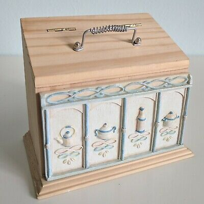 Ornate Wooden Recipe Etched Lid Box Countertop Card Vintage Storage Holder Decor