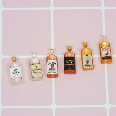 6pcs Dollhouse Miniature Wine Whisky Bottles Shop Pub Decor Gift Bar Drinks W2I3