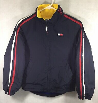 Vintage Tommy Hilfiger Jacket Youth Size Reversible Spell Out Fleece Zip Up