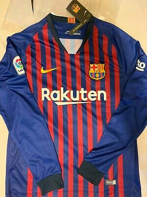 BNWT BARCELONA HOME SHIRT 2018 2019 LONG SLEEVE MEDIUM messi suarez rakitic