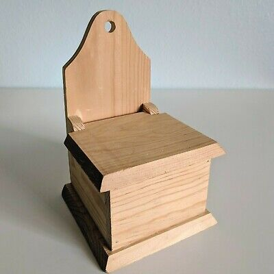 Natural Wood Recipe Lid Box Country Countertop Wall Mount Card Storage Holder