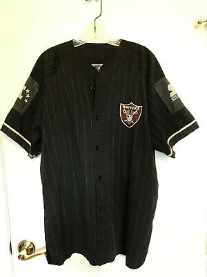 newest collection f2693 6fd35 VINTAGE STARTER OAKLAND Raiders Pinstripe Baseball Jersey SIZE XL