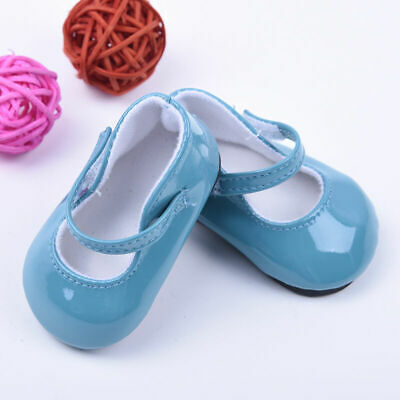 For 18inch Doll Party Kid Gifts Handmade Blue Leather Shoes Boots Hot X6W1