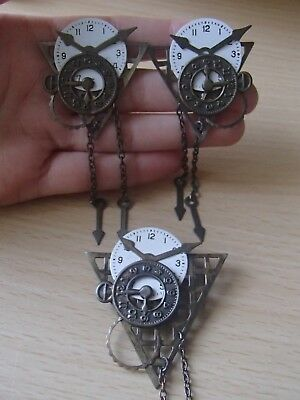 Vintage Artisan Watch Face Clock Parts Steampunk Steam Punk Earrings Brooch Pin