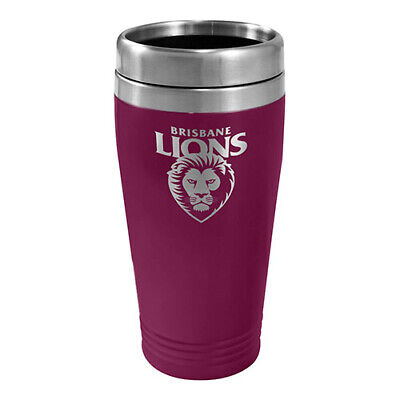Brisbane Lions AFL TRAVEL Coffee Mug Cup Double Wall Stainless Steel Bar Gift