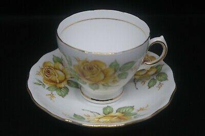 Royal Vale Bone China Tea Cup and Saucer with Yellow Roses and Gold Trim