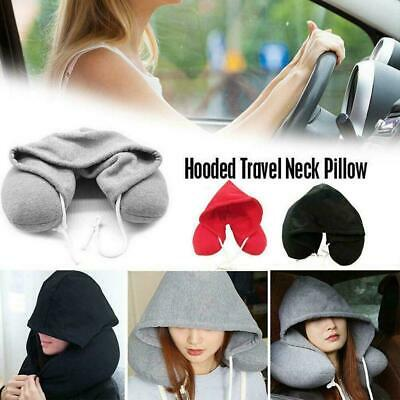 New Adults Hooded Travel Neck Pillow Car Flight Cushion Support Comfortable T6P6