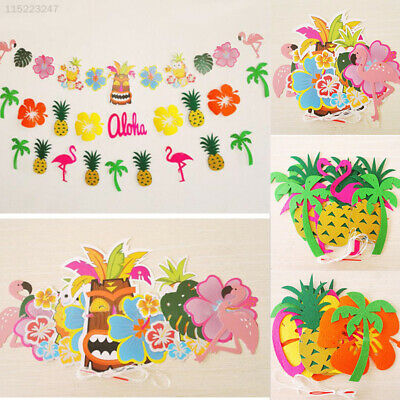 7D21 Tropical Flamingo Garland Pineapple Bunting Banner Decoration Hanging Decor