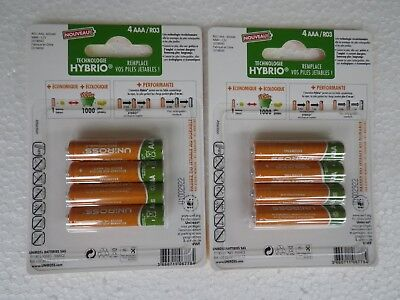 8  Piles rechargeables batteries accus UNIROSS  AAA/R03 NiMH