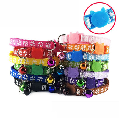 Safety-Release Cat Collar Cute Paw Print Adjustable Kitten Collar Bell Cats