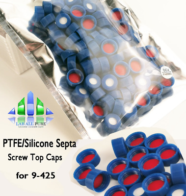 9-425 Screw Caps+Septa,PTFE/Silicone,Compatible with Agilent,Thermo,HPLC 100PCS