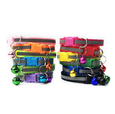Reflective Adjustable Collar Hi-Vis Small Dog Cat Pet Bell Cute Colourful Buckle