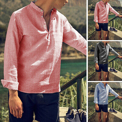 Vintage Men's Collarless Shirts Striped Shirt Button V NECK Pullover Tops Shirts