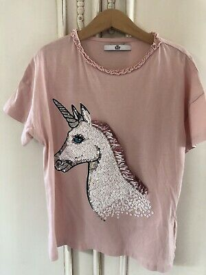 Ln M&S Marks And Spencer Girls Pale Pink Unicorn Sequin Tshirt 9-10