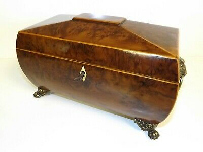 Large Yew Wood Tea Caddy With Bowl And Spoon. Georgian 1760's