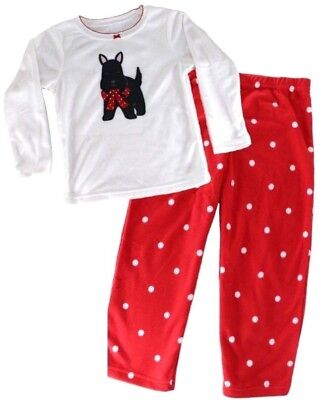 Girls Fleece PYJAMAS Top Bottoms SCOTTIE DOG Terrier Puppy | 4 Years