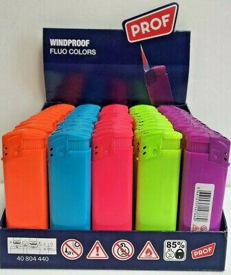 Prof Fluo Windproof, Jet Flame, Bright Colours Lighters, Lighter