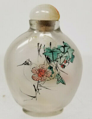 Antique Chinese Inside Reverse Painted Peking Glass Snuff Bottle Floral