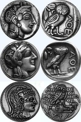 Athena & Owl, 3 Versions of Famous Greek Coins, Percy Jackson Fans (3ATHOWL-S)