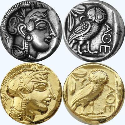 Athena & Owl 2 FINISHES, Mark oof athena Greek Coin, Percy Jackson Fans, 12 S+G