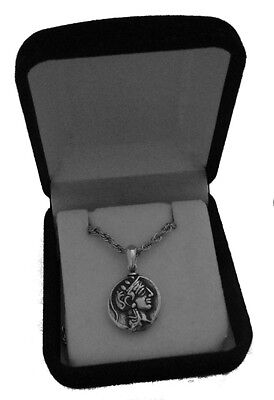 Percy Jackson Necklace, ATHENA & Owl Pend/Chain, Drachm Small Version, 47-S