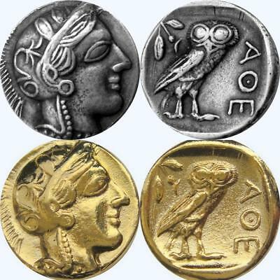 Athena & Owl 2 FINISHES, Version 2, Greek Coins, Percy Jackson Fans, 77 S+G