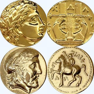 Zeus and His Son Apollo, Two Famous Greek Coins, Percy Jackson Fans (86+30-G)