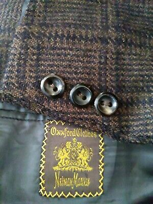 44L OXXFORD CLOTHES Prince of Wales Plaid Check Tweed Coat Blazer Jacket brown