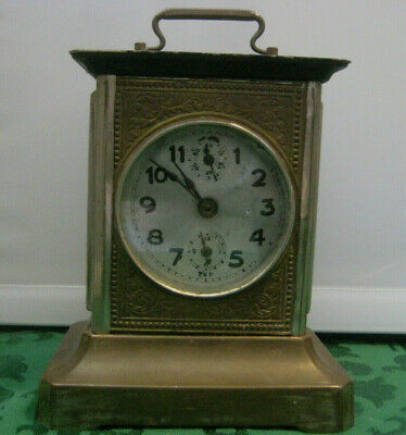 CLOCK antique vtg Carriage for parts repair window gears viewing TKD Lantern