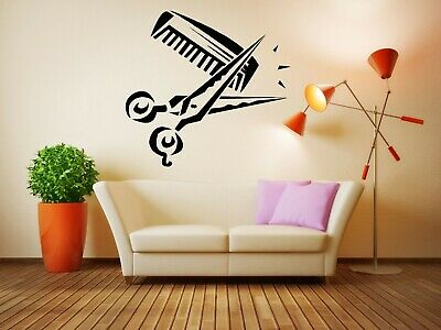 Wall Sticker Hair Salon Beauty Scissors Comb Logo Barber Mural Decal Decor ZX821