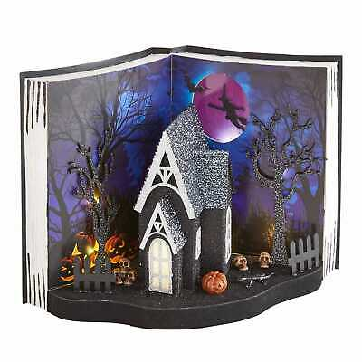 Halloween Putz House Haunted House Scene on Book Stage Light-UP LED Pier 1