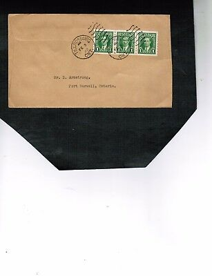 CANADA 1937 KING GEORGE VI  COILS STRIP of 3 on COVER used cat #238 $4.00 LOT750