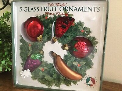 Old World Glass Fruit Ornaments Set Of 5 Christmas