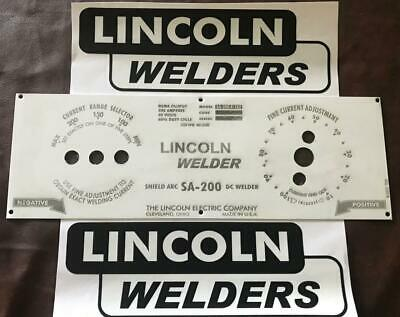 Lincoln Arc Welder Economy SA-200 Control Plate Laser Etched, M-8803, 2-Decals