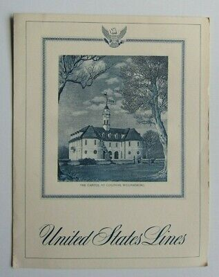 1967 SS United States Menu Engraving The Capitol at Colonial Williamsburg Cover