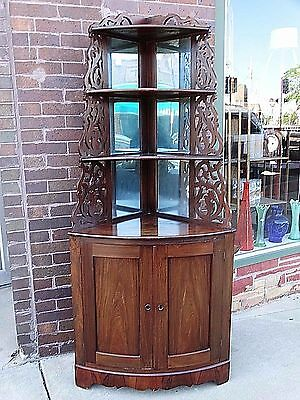 Antique Victorian Rosewood Corner Cupboard cabinet shelf Whatnot Civil war era