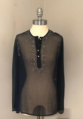 The Limited Long Sleeve Black Sheer Silk Tunic Top Blouse Beads Sequins Small
