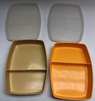 Vintage Tupperware Divided Lunch Snack Containers almond And Gold with Lids