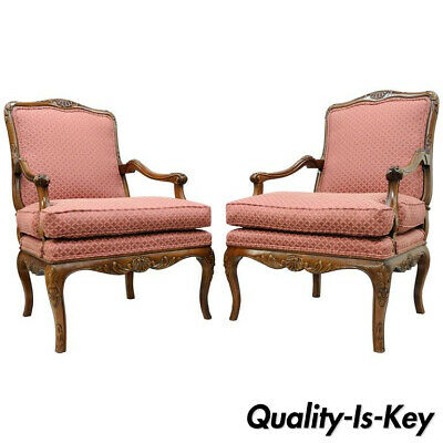 Pair of Country French Louis XV Shell Carved Century Bergere Lounge Arm Chairs