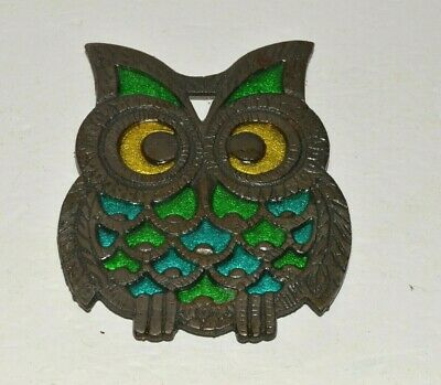 Vintage Owl Trivet Cast Iron Retro Metal Kitchen Hot Plate Holder Primitive 6""